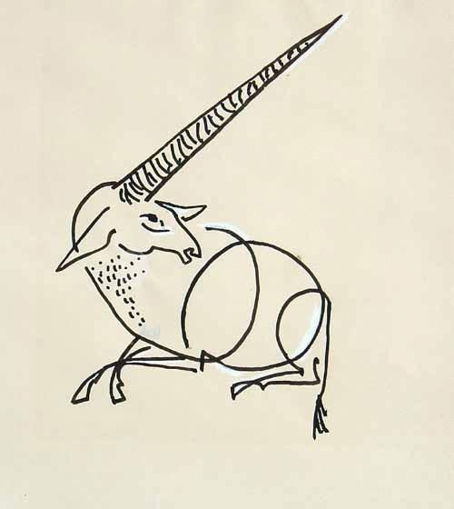 Wiltraud Jasper - -Einhorn- Tuschezeichnung weiß gehöht, handsigniert kopen? Bied vanaf 69!