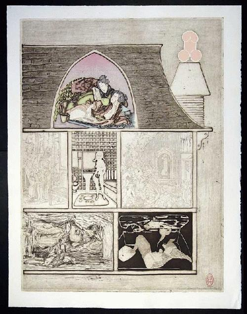 Noboru Sawai - -HOUSE OF MANY MANSIONS - EAST- Farbholzschnitt und Radierung auf Bütten, handsig., num., 1976 kopen? Bied vanaf 260!