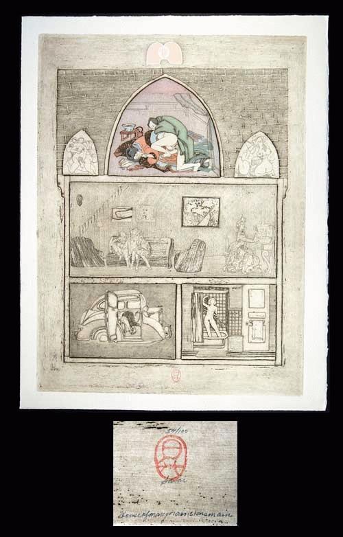 Noboru Sawai - -HOUSE OF MANY MANSIONS - MAIN- Farbholzschnitt. und Radierung auf Bütten, handsig., num., 1976 kopen? Bied vanaf 260!