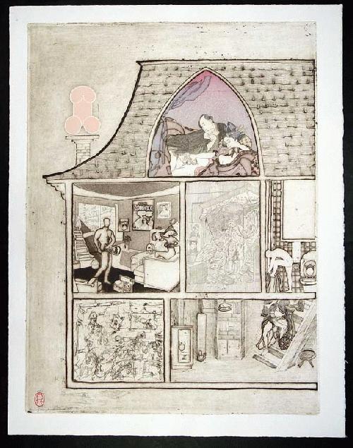 Noboru Sawai - -HOUSE OF MANY MANSIONS - WEST- Farbholzschnitt und Radierung auf Bütten, handsig., num., 1976 kopen? Bied vanaf 260!
