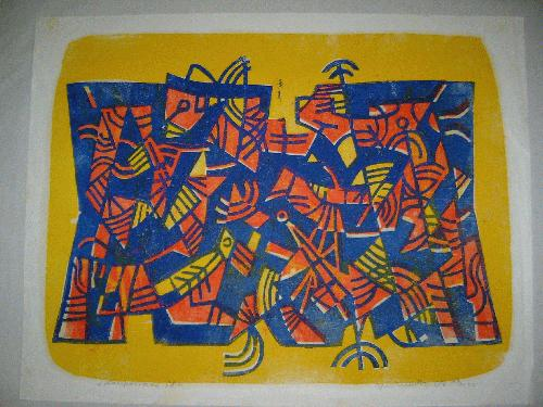 Max Mertz - -KOMPOSITION 58- Farbholzschnitt auf Japanbütten, handsigniert, datiert und num. kopen? Bied vanaf 390!