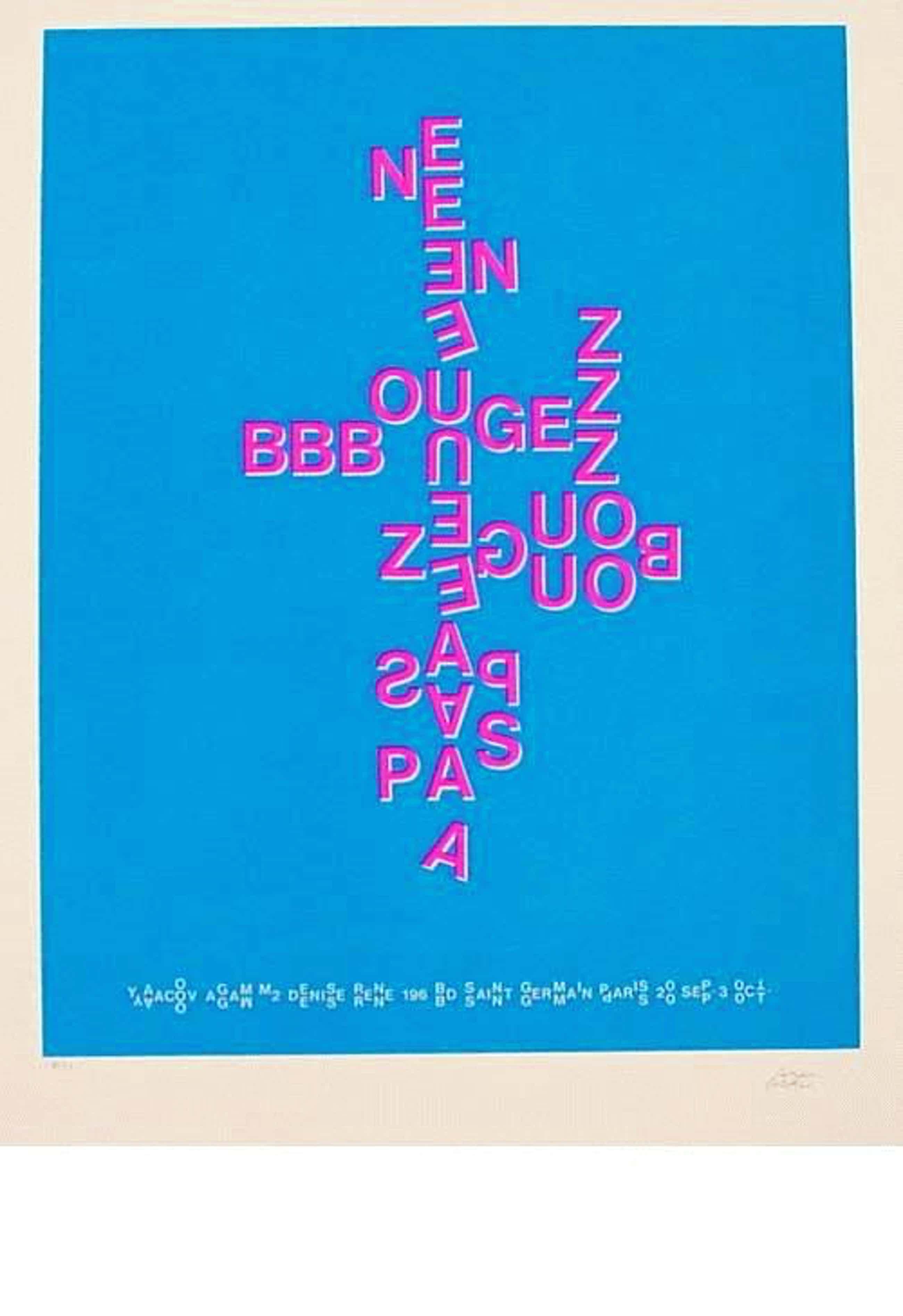 Yaacov Agam - -NE BOUGEZ PAS - BLAU- Farbserigrafie, handsigniert und numeriert kopen? Bied vanaf 240!