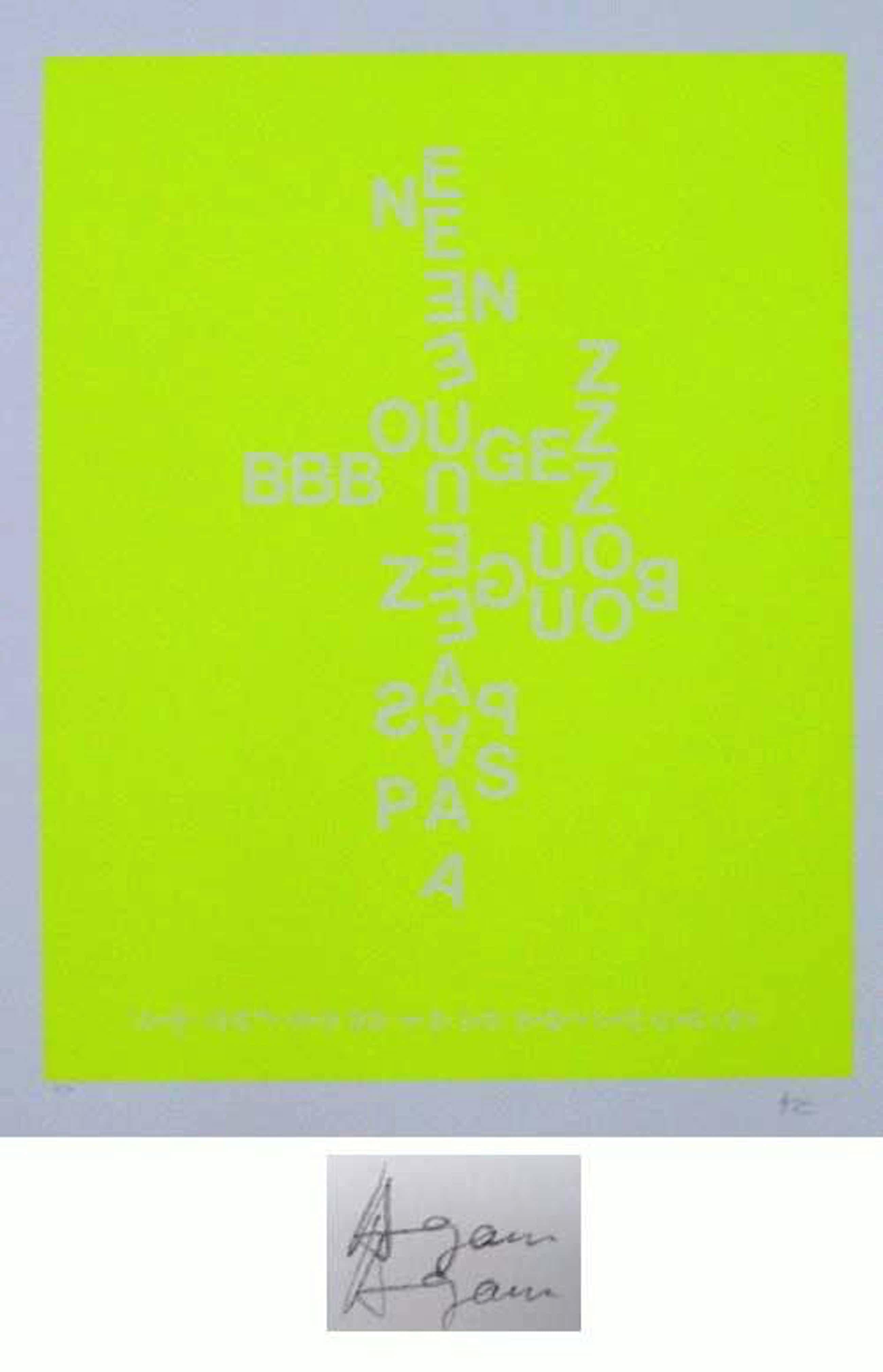 Yaacov Agam - -NE BOUGEZ PAS - GELB- Farbserigrafie, handsigniert und numeriert kopen? Bied vanaf 240!