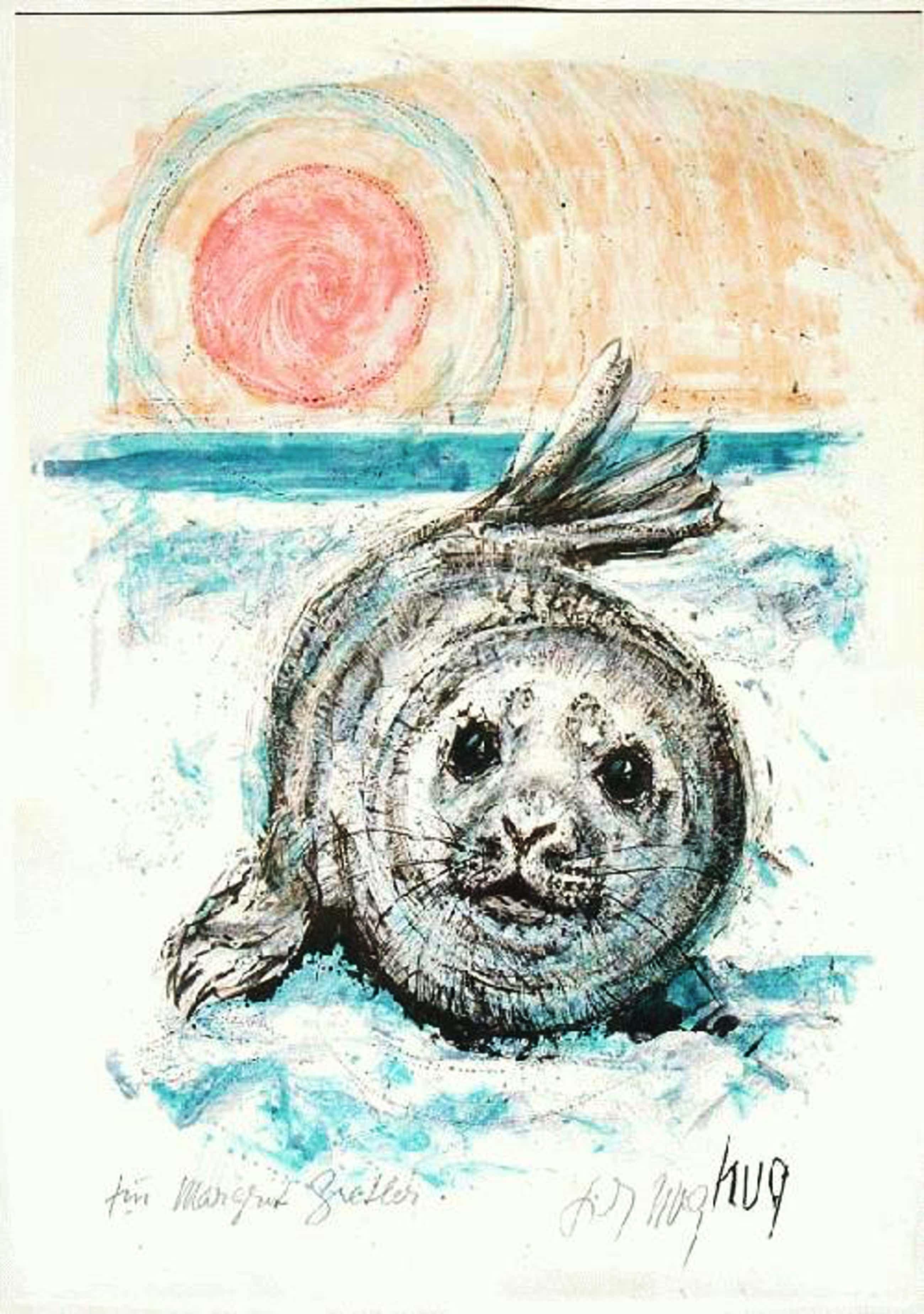 Fritz Rudolf Hug - -Seehund- Farblithografie, handsigniert, Widmung kopen? Bied vanaf 190!