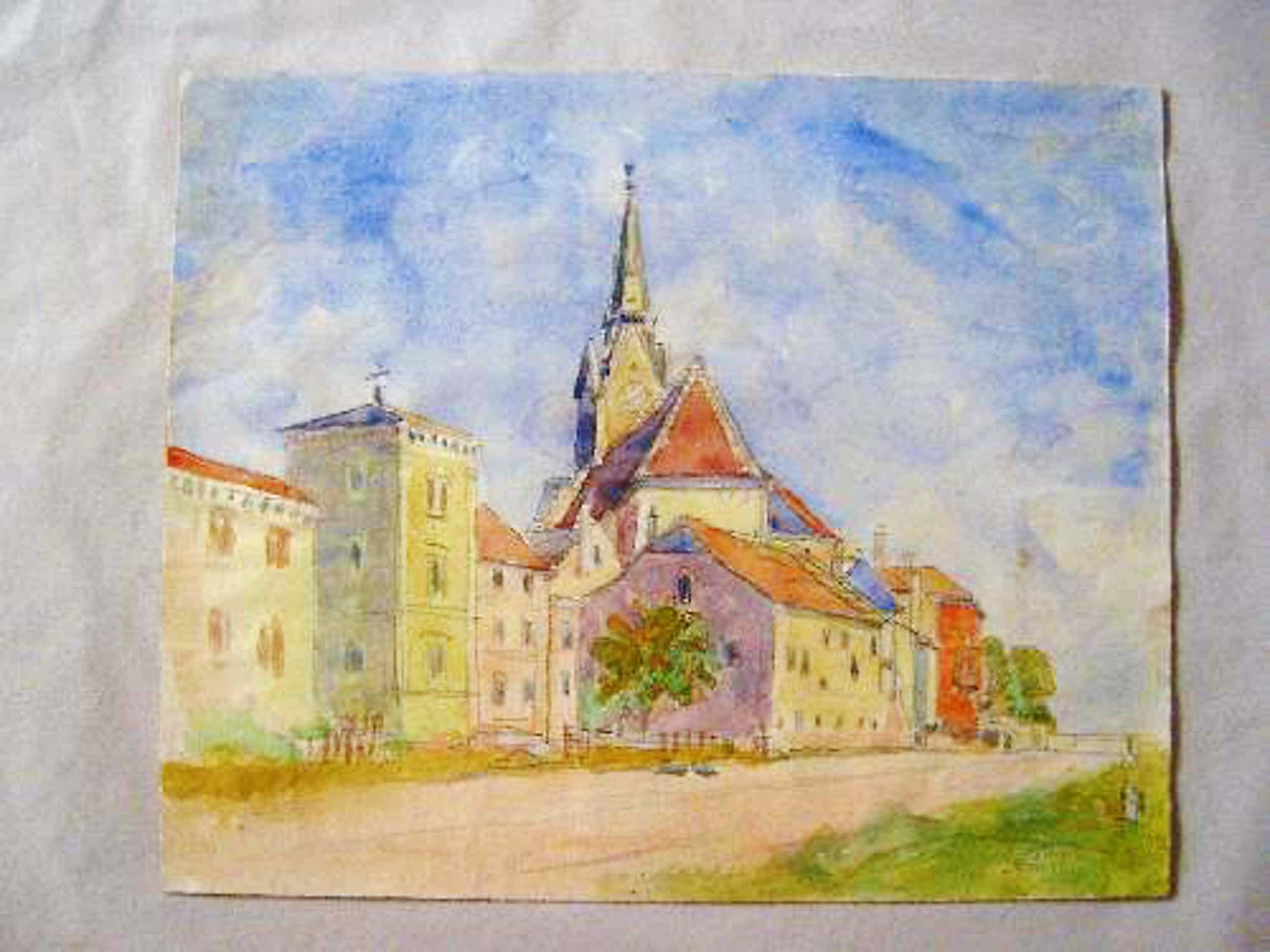 Anton Storch - -YBBS AN DER DONAU- mit hl. Laurentius-Kirche, Aquarell, handsigniert, 1959 kopen? Bied vanaf 290!