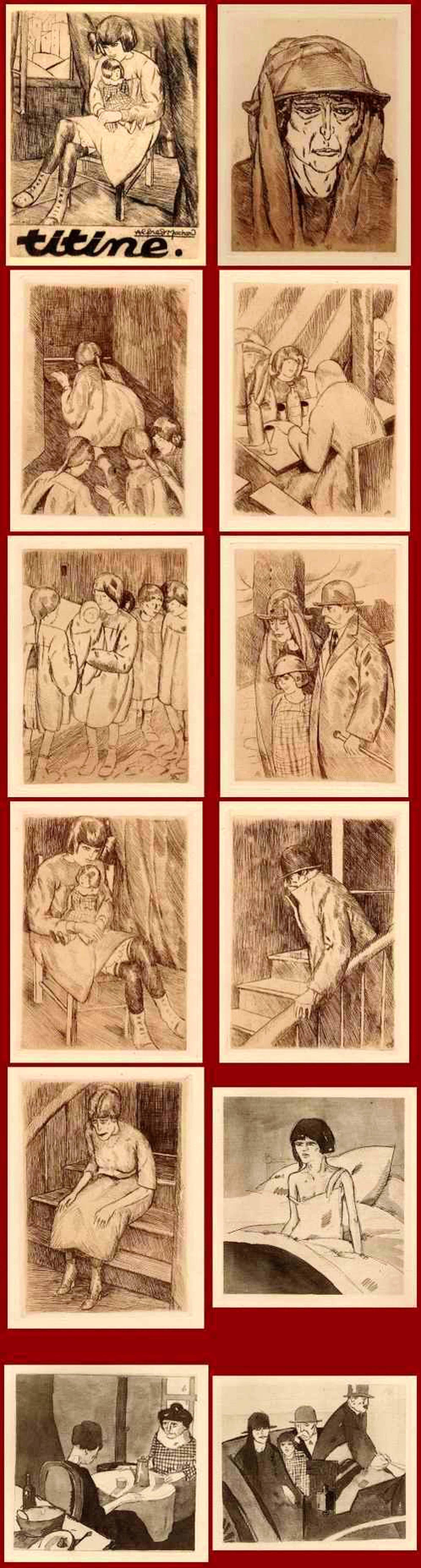 Louis Robert Antral - 10 Original-Radierungen zu TITINE - Geschichte einer VERGEWALTIGUNG - A.Machard 1922 kopen? Bied vanaf 90!