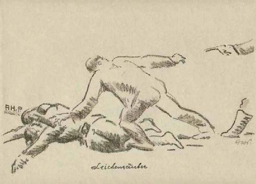Alfred Heinrich Pellegrini - 1915 LEICHENRÄUBER Handsignierte & -colorierte OriginalLithographie d.HÖLZER-Meisterschüler a.BASEL kopen? Bied vanaf 75!