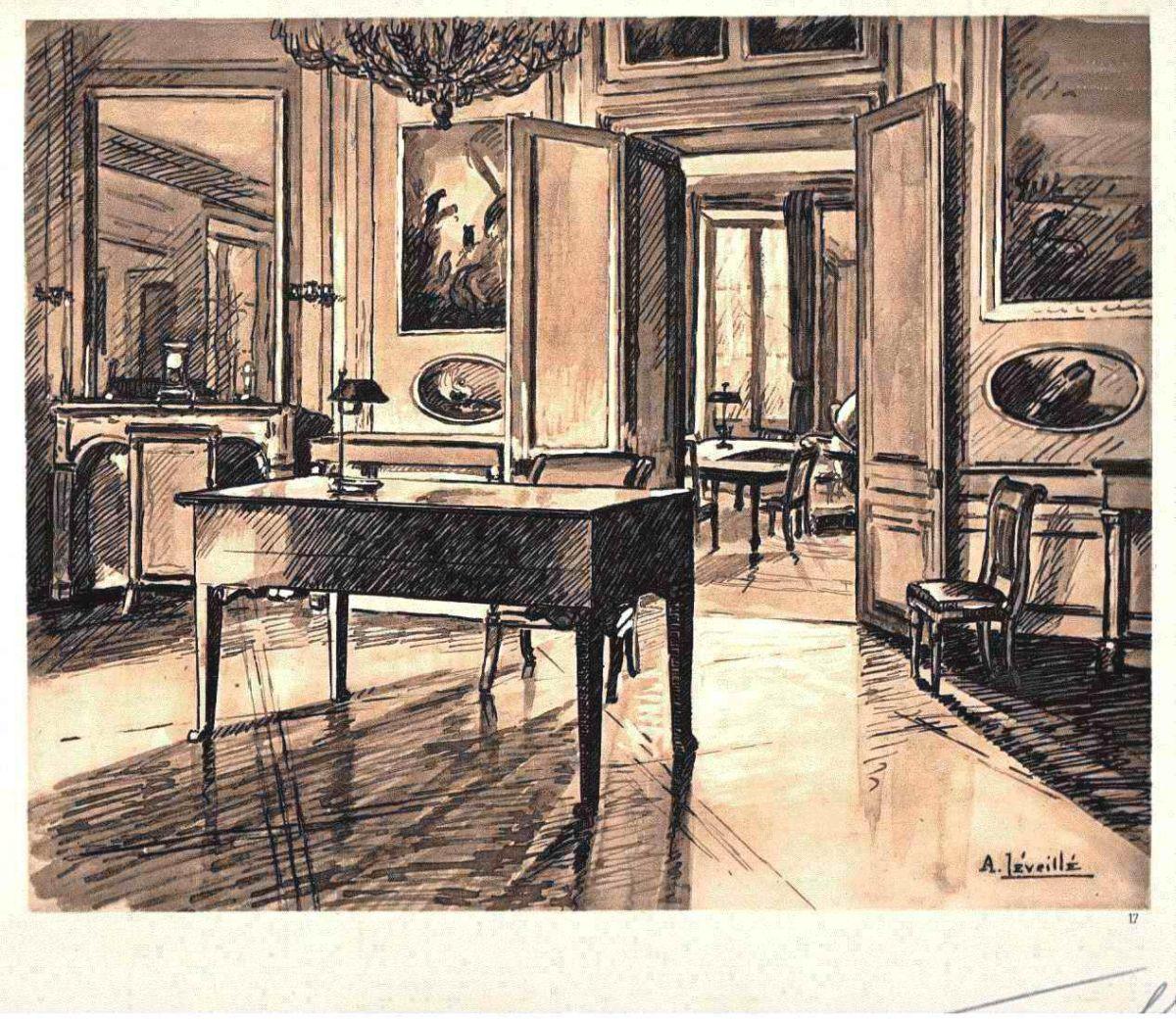 Andrèi Lèveillè - 1925 - BURO de NAPOLÉON in FONTAINEBLEAU Handsignierte OriginalLithographie kopen? Bied vanaf 65!