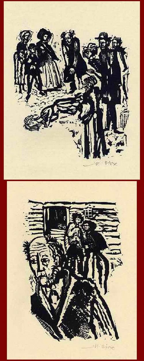 Willi Dirx - 1987/88 - 2 handsignierte Original Linolschnitte des KUBIN & Pankok-Freundes zu DOSTOJEWSKIs SANFTE kopen? Bied vanaf 49!