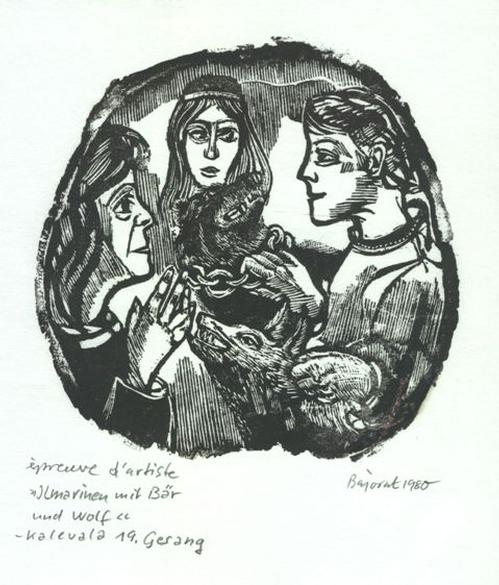 Archibald Bajorat - 19.Gesang, Ilmarinen mit Bär und Wolf, Holzschnitt 1980 kopen? Bied vanaf 45!