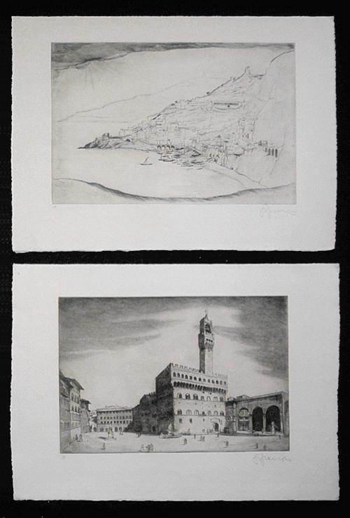 Sepp Frank - 2 signierte Radierungen um 1920, (Italien-Zyklus) kopen? Bied vanaf 70!