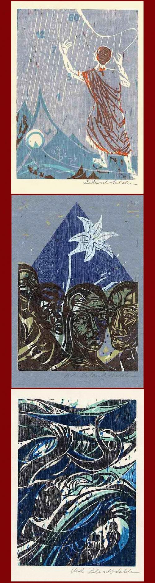 Marie-Luise Salden - 3 handsignierte OriginalFarbHolzschnitte zu 3 Poemen von ELISABETH von ULMANN 1984-87 (KIEL S/H) kopen? Bied vanaf 135!