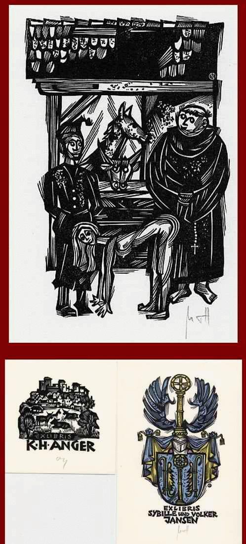Herbert Ott - 3 OriginalHolzschnitte des GRADL-Schülers -signiert- 2 Exlibris K.H.ANGER & Sybille &Volker JANSEN kopen? Bied vanaf 40!