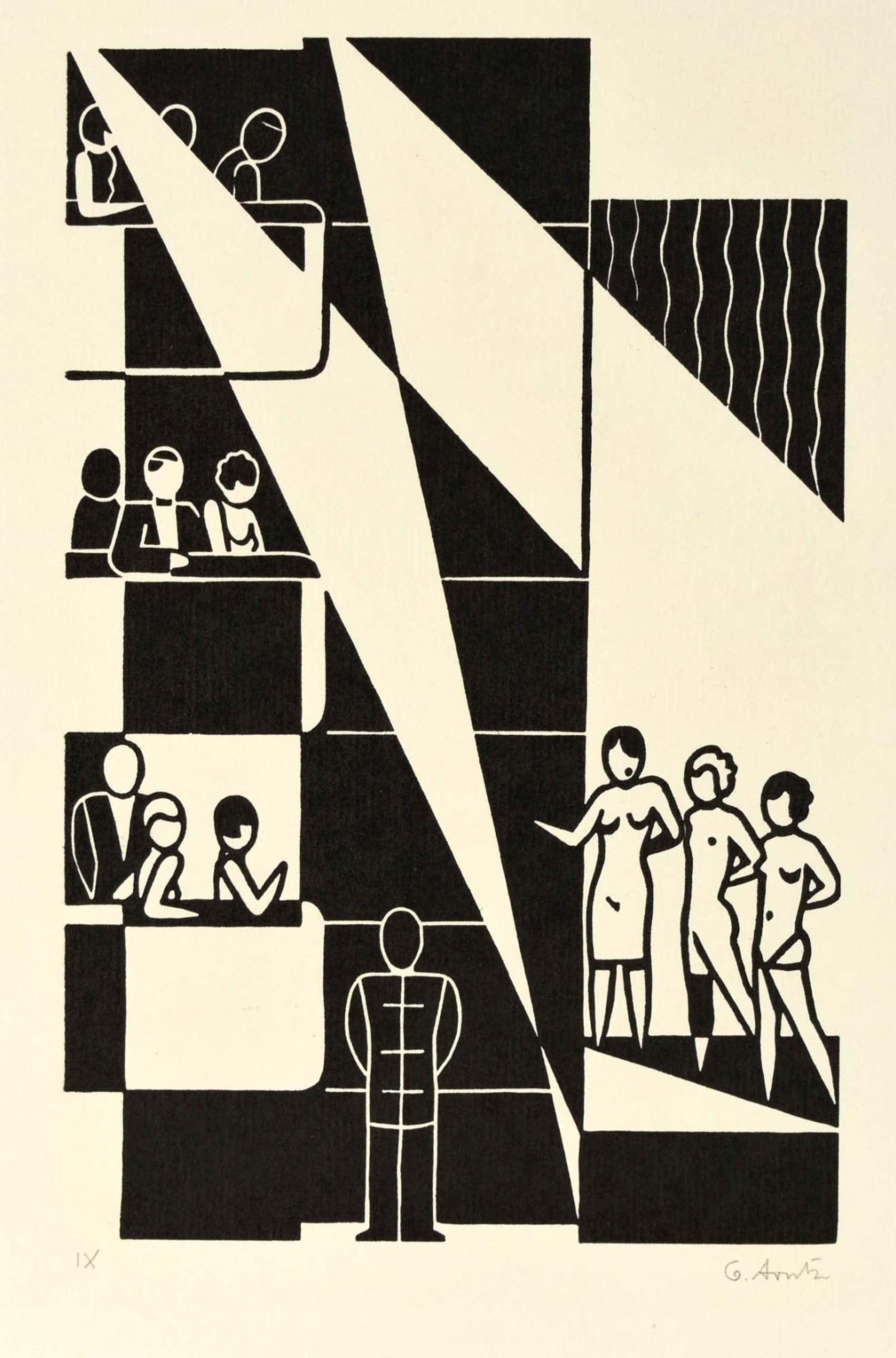 Gerd Arntz - THEATER, Original-Holzschnitt 1972/73, signiert kopen? Bied vanaf 270!