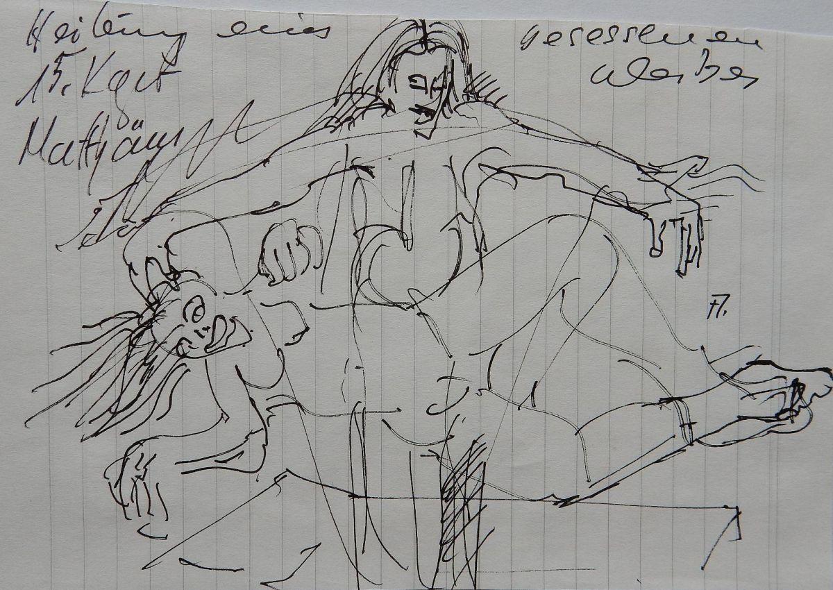 """Anatol Herzfeld - """"Heilung eines besessenen Weibes"""" Tuschfederzeichnung kopen? Bied vanaf 79!"""