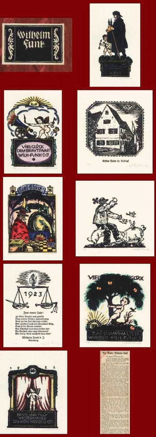 Wilhelm Heinrich Funk - 8 handsignierte Original-Holzschnitte des NEW YORKer Gründers der STEUBEN SOCIETY aus BAYERN u.1922 kopen? Bied vanaf 320!