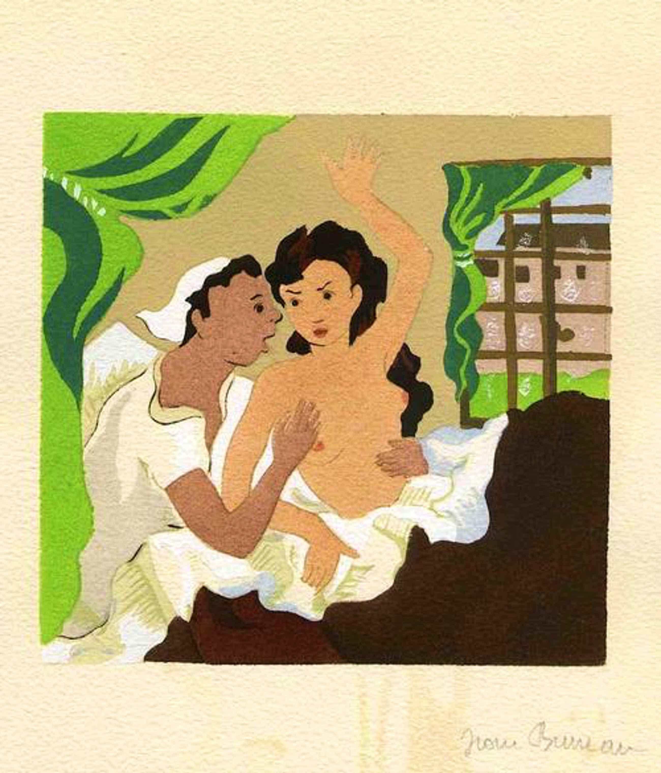 Jean Bruneau - ABENTEUR GEDÄCHTNIS - 1947 - Handsignierte Tuschezeichnung zu VOLTAIREs PHILOSOPHISCHE ERZÄHLUNGEN kopen? Bied vanaf 120!