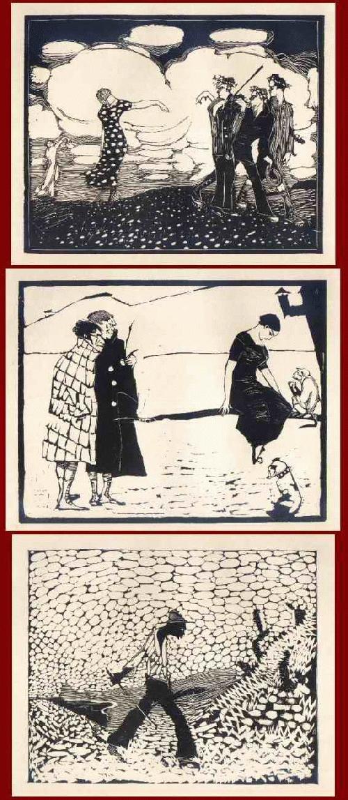Arminius Hasemann - ABSCHIED - ZIGEUNERMÄDCHEN - TROPENKOLLER - 3 OriginalHolzschnitte des GENIALEN HOLZSCHNEIDERS 1915 kopen? Bied vanaf 60!