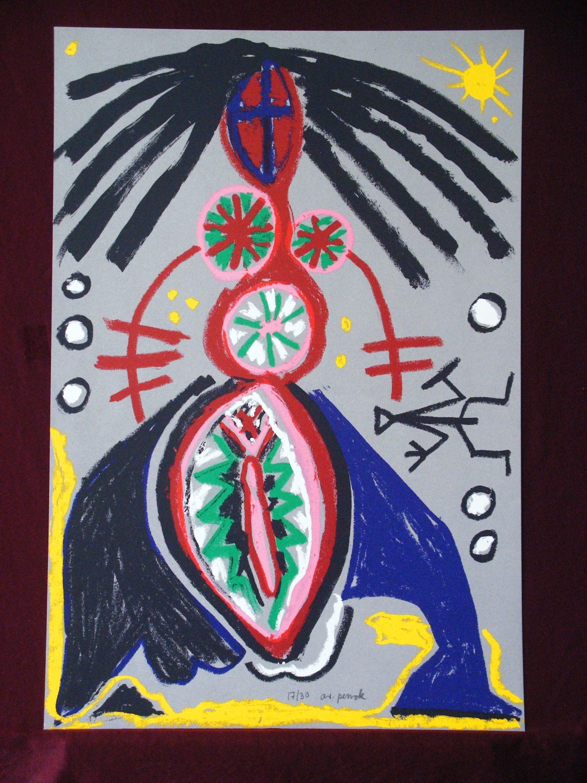 A.R. Penck - Abstract Woman I, Farbserigraphie,1991,sign.,selten kopen? Bied vanaf 850!