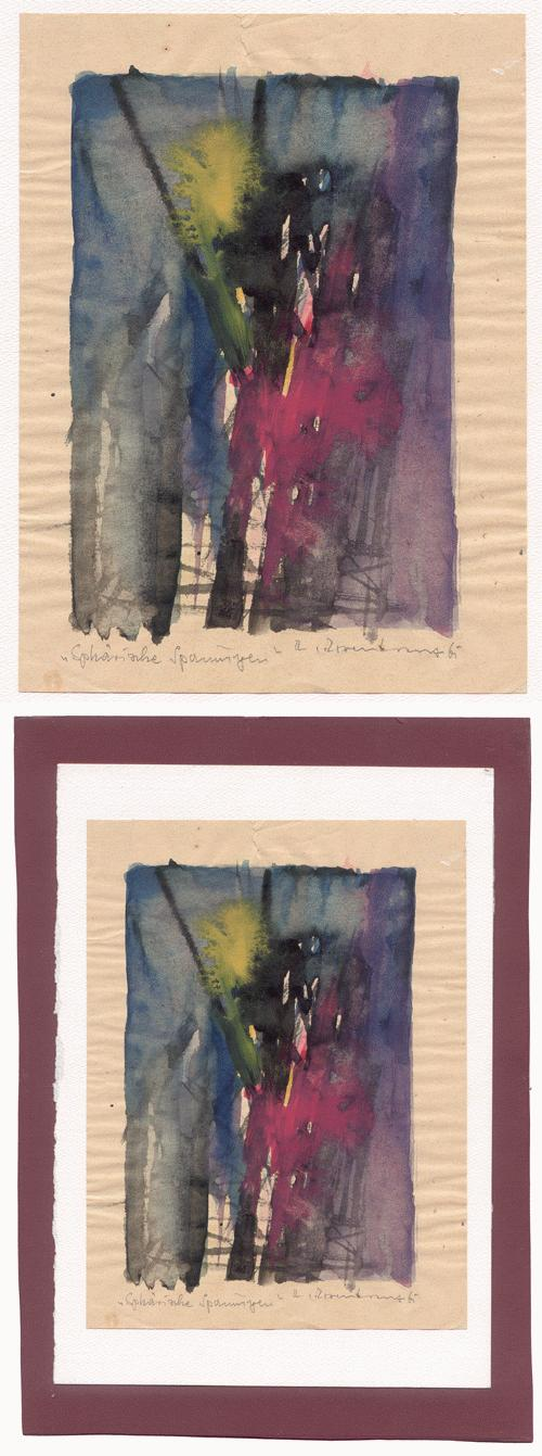 Rupert Rosenkranz - Abstrakte Komposition, Aquarell, signiert 1961. kopen? Bied vanaf 75!