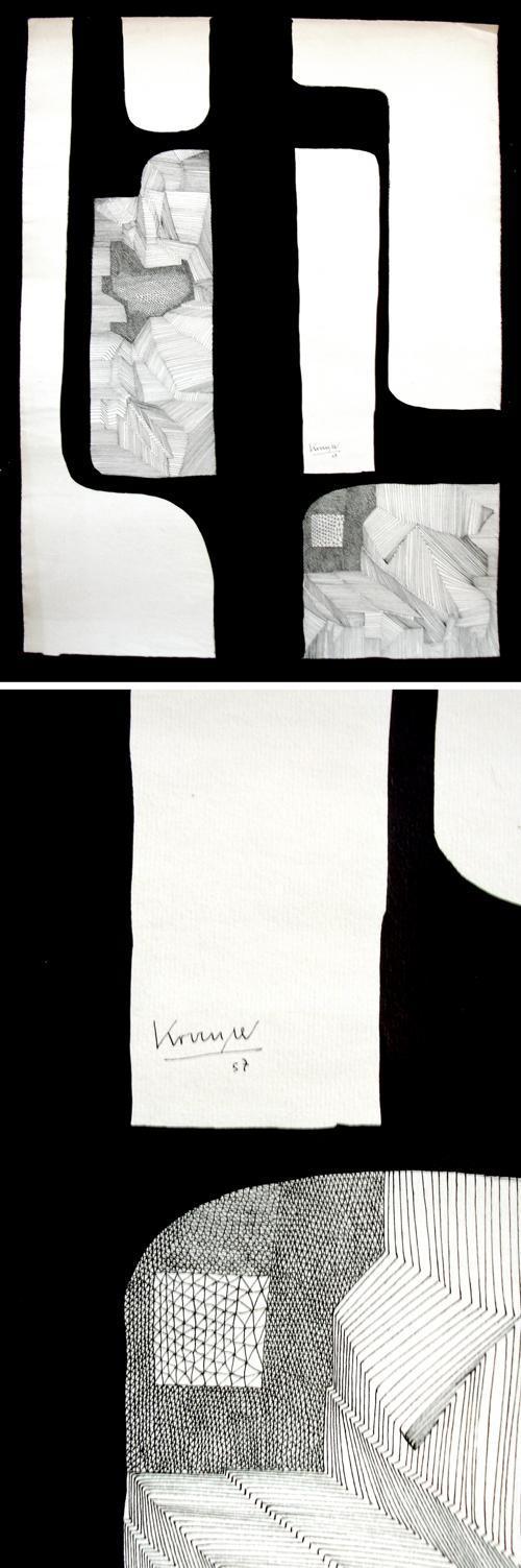 Hans Krause Thorner - Abstraktion. Handzeichnung, 1957. kopen? Bied vanaf 150!