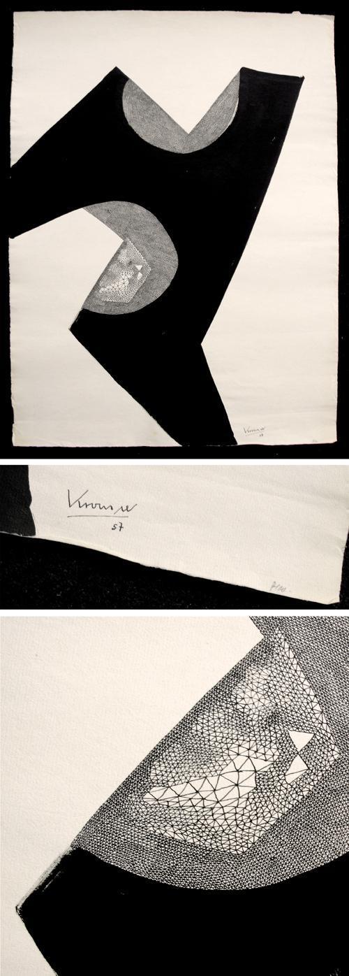 Hans Krause Thorner - Abstraktion. Tuschzeichnung, 1957. kopen? Bied vanaf 150!