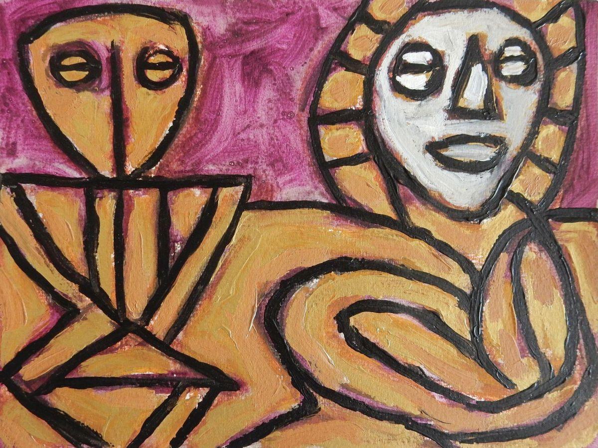 Jorge Castilla-Bambaren - Acrylbild ohne Titel, 24x32 cm, Unikat 1996 kopen? Bied vanaf 230!