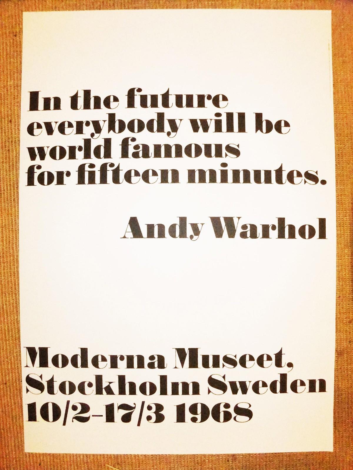 Andy Warhol - ANDY WARHOL wunderbares Plakat aus Stockholm 1968/2006 MARKANTE SÄTZE DES MEGA MEISTERS !!!! kopen? Bied vanaf 110!