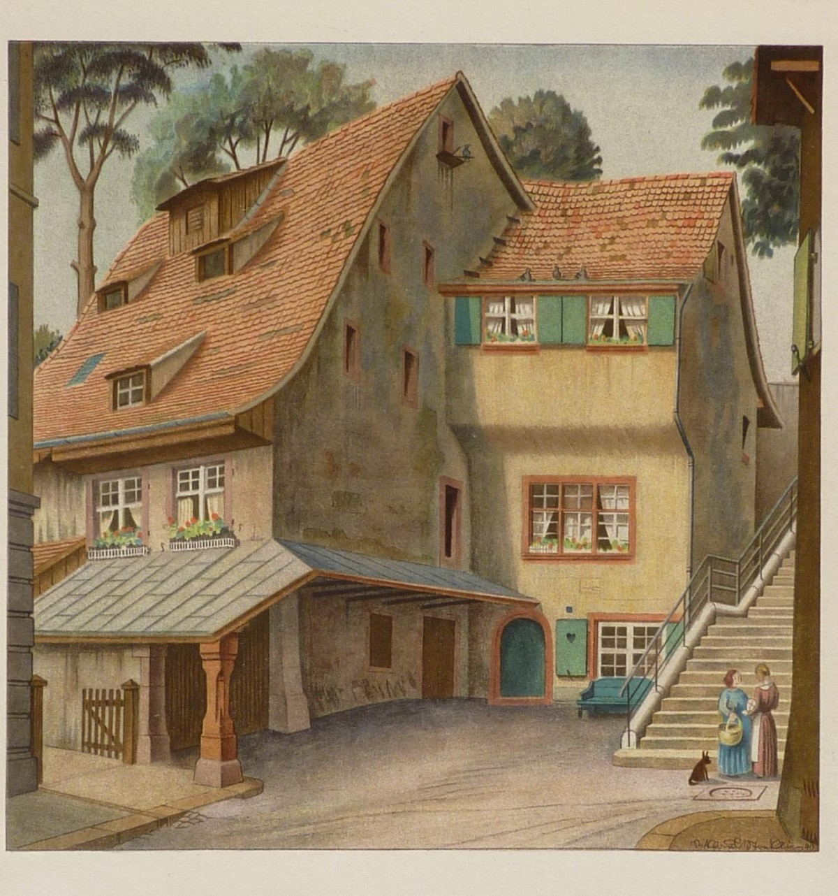 Niklaus Stoecklin - Ansicht aus Basler Altstadt Steinenmühle Steinenvorstadt kopen? Bied vanaf 75!