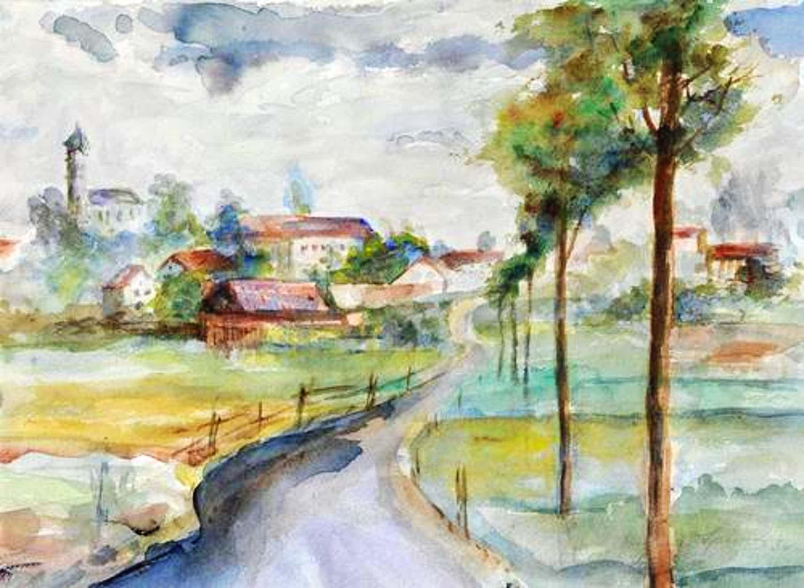 Eugen Spiro - Aquarell, 1956 Dorfstraße mit Dorf im Hintergrund kopen? Bied vanaf 777!