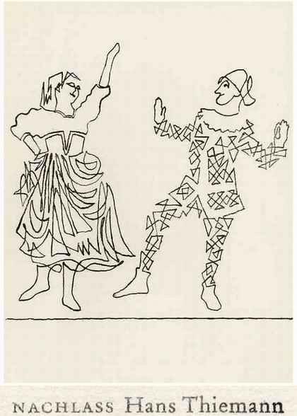 Hans Thiemann - ARLEQUIN & COLUMBINE - OriginalLithographie des BAUHAUS-Schülers v. KANDINSKY & Paul KLEE - 1977 kopen? Bied vanaf 26!