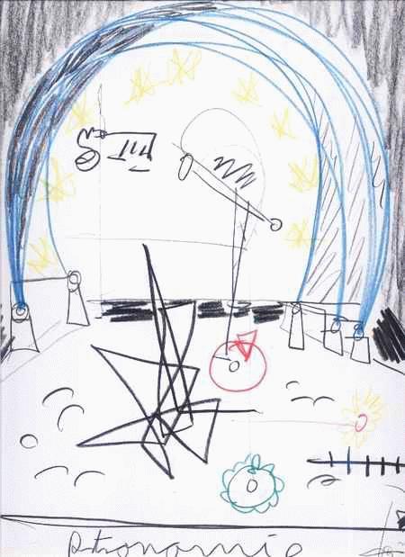 Andreas richert - ASTRONOMIE - FarbStiftZeichnung v.TOCORÜBEN-Genius aus GIESsEN - signiert & tituliert & datiert 2000 kopen? Bied vanaf 65!