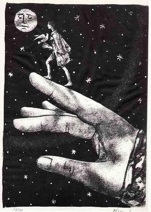 Max Hunziker - AUF GOTTESHAND dem MOND ENTGEGEN - Handsignierte Handätzung des SCHWEIZER Surrealisten kopen? Bied vanaf 55!