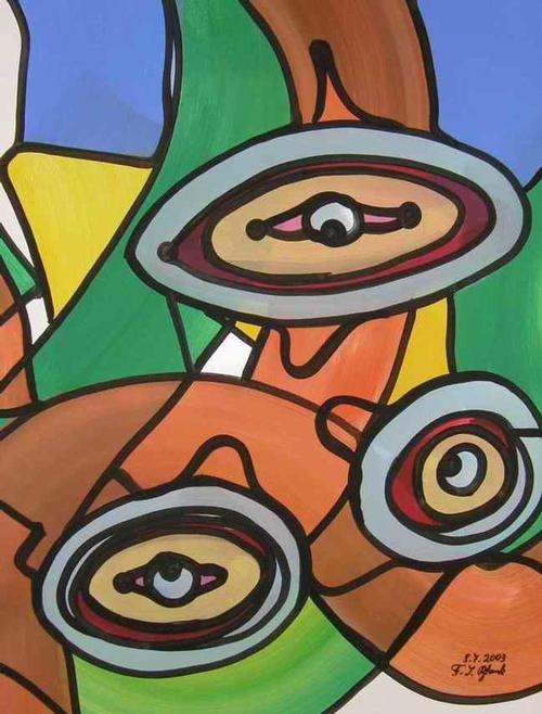 Franz J. Blank - AUGENMERK - Grosse POP-ART Acrylmalerei - Handsigniert 2003 (Extravaganza Florida VISIONEN 2000/01) kopen? Bied vanaf 99!