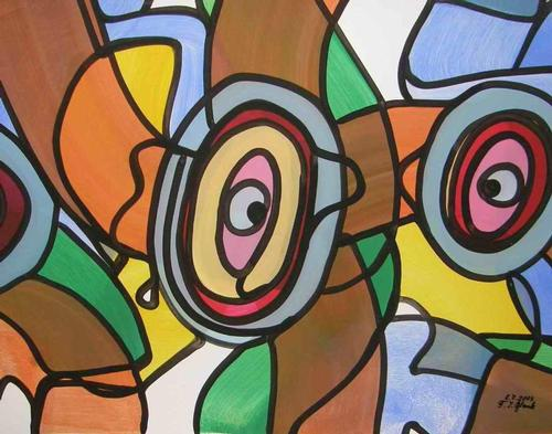 Franz J. Blank - AUGENSTERN - Grosse POP-ART Acrylmalerei - Handsigniert 2003 (Extravaganza Florida VISIONEN 2000/01) kopen? Bied vanaf 99!