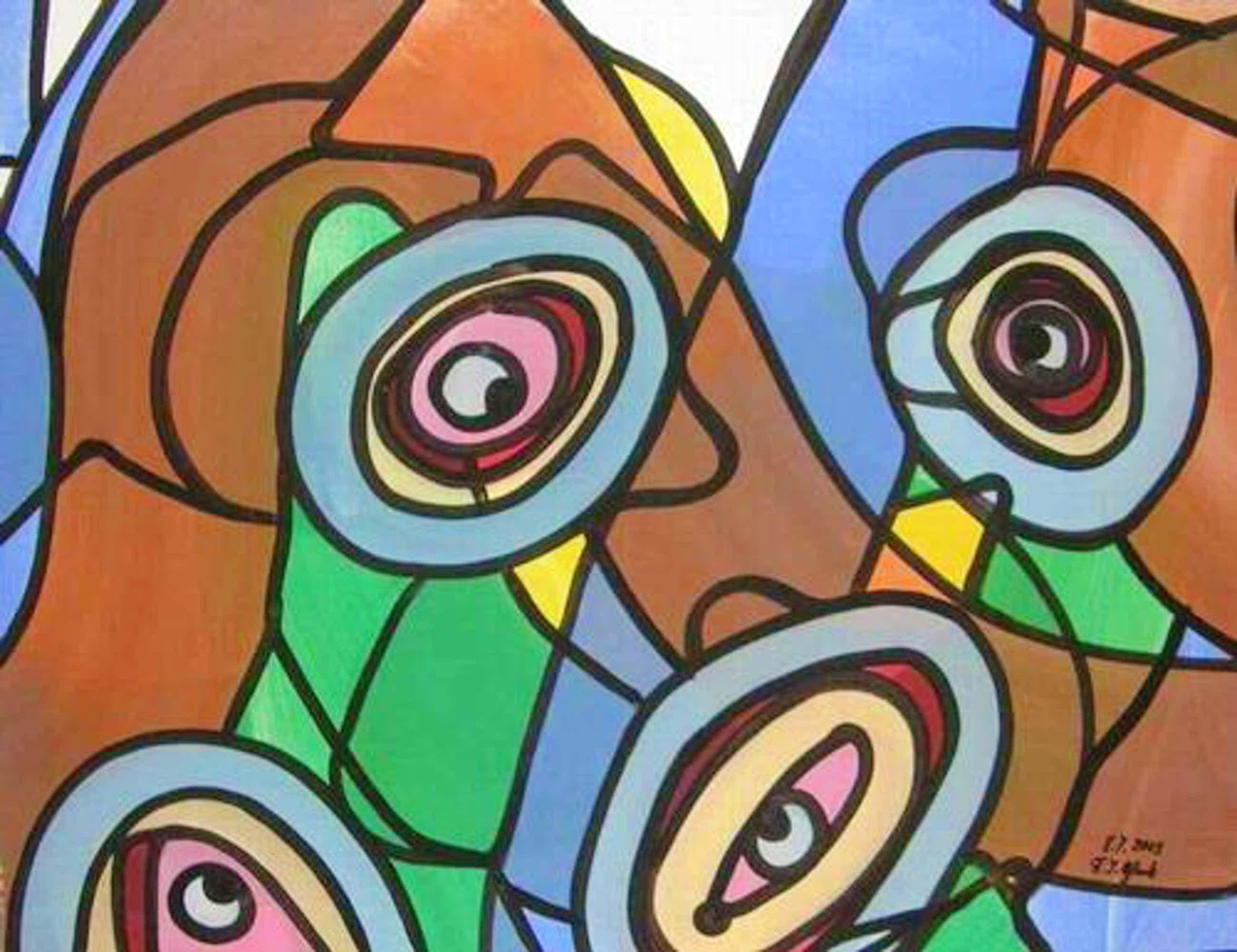 Franz J. Blank - AUGENWEIDE, Grosse POP-ART Acrylmalerei - Handsigniert 2003 (Extravaganza Florida VISIONEN 2000/01 kopen? Bied vanaf 99!