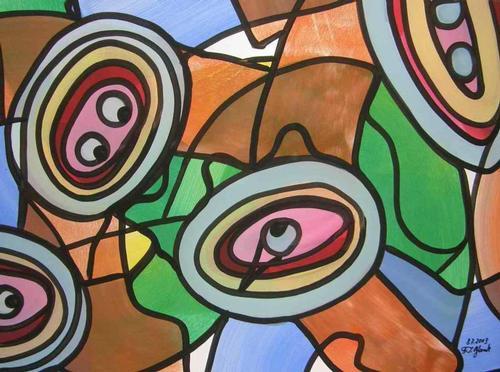 Franz J. Blank - AUGENWINKEL Grosse POP-ART Acrylmalerei - Handsigniert 2003 (Extravaganza Florida VISIONEN 2000/01) kopen? Bied vanaf 99!