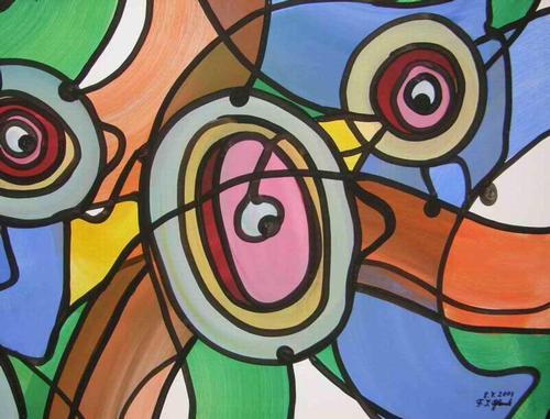 Franz J. Blank - AUGENZEUGEN - Grosse POP-ART Acrylmalerei - Handsigniert 2003 (Extravaganza Florida VISIONEN 2000) kopen? Bied vanaf 99!