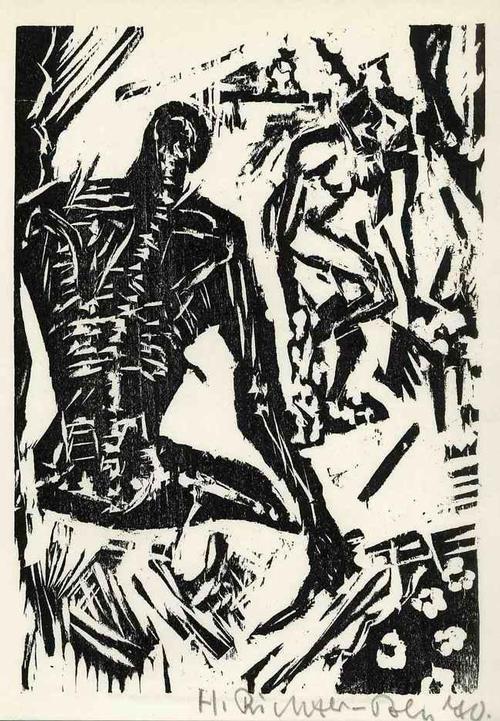 Heinrich Richter-Berlin - Aus der MORGENZEITUNG - Handsignierter & 1970 datierter OrigLinolschnitt (BRÜCKE - NEUE SEZESSION) kopen? Bied vanaf 99!