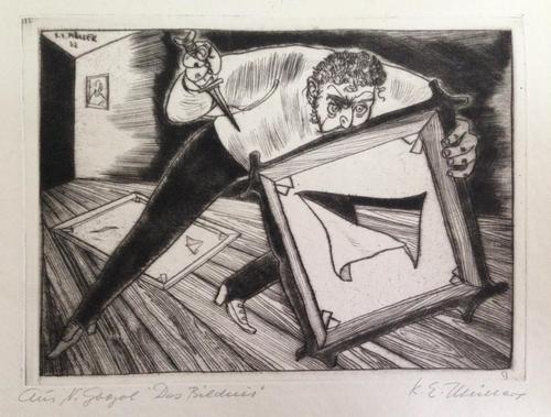 Karl Erich Müller - aus N.Gogol - Das Bildnis, Radierung, signiert, betitelt, 1952 kopen? Bied vanaf 100!