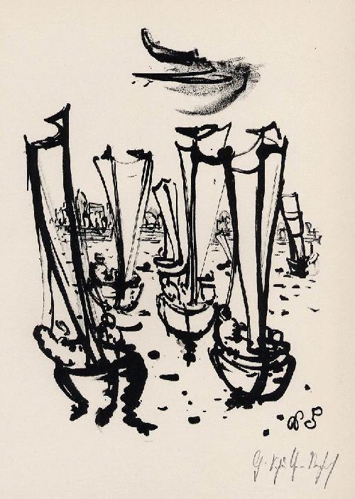 Gerhard Schultze-Seehof - AUSFAHRT der SEGELBOOTE - Handsign. OriginalLithographie des Bildhauers & MosaikKünstlers aus BERLIN kopen? Bied vanaf 35!