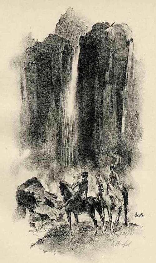 Edward Stiefel - AUSRITT zu den VIERWALDSTÄTTERSEE KATARAKTEN - 1920 - Handsignierte OriginalLithographie - SCHWEIZ kopen? Bied vanaf 35!