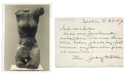 Georg Kolbe - Autograph. Georg Kolbe an Alexej von Jawlensky, 1934. kopen? Bied vanaf 400!