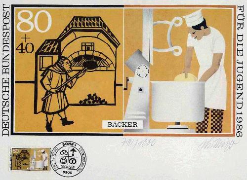 Heinz Schillinger - BÄCKER - 1986 - vom Künstler aus NÜRNBERG handsigniert - mit gestempelter OriginalBriefmarke kopen? Bied vanaf 32!
