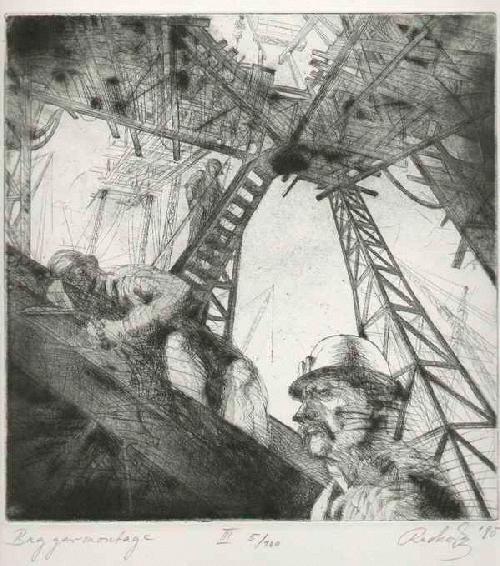 Hans-Christoph Rackwitz - BAGGER-MONTAGE 1980 - handsignierte Originalradierung des BURG GIEBICHSTEIN-Schülers kopen? Bied vanaf 75!