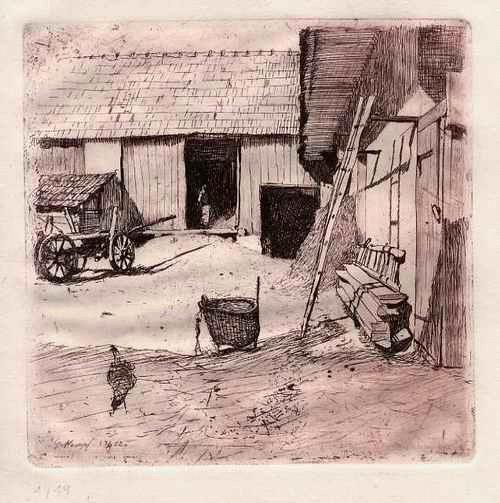 Gottlieb Kempf - BAUERNHOF - OriginalRadierung des WIENER Künstlers - 1902 - numeriert 1/19 kopen? Bied vanaf 36!