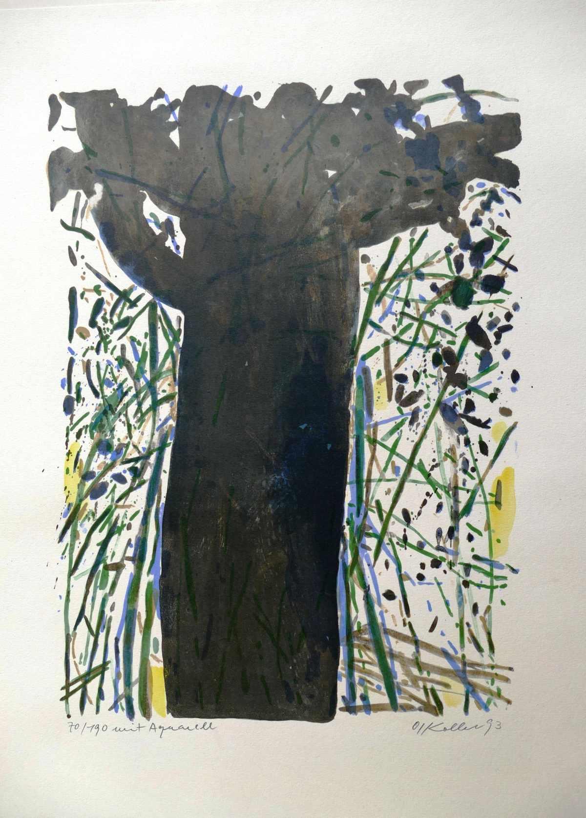 Oskar Koller - Baum im Farbenmeer, Farblithographie mit Aquarell kopen? Bied vanaf 180!