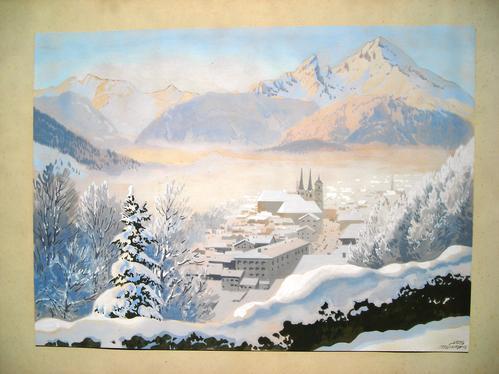Josef Süssmeier - Berchtesgaden mit Watzmann im Winter, Gouache, Pseudonym YOS signiert kopen? Bied vanaf 220!