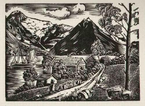 Gottfried Richter - BERGE & BOOTE am SEE - wohl NORWEGEN-Impressionen 1942 handsignierter OriginalLinolschnitt kopen? Bied vanaf 55!