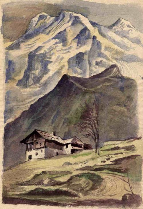 Richard Schwarzkopf - BERGHÜTTE - OriginalAquarell des BONN geborenen Künstlers aus DÜSSELDORF - Nachlaßstempel † 1 kopen? Bied vanaf 85!